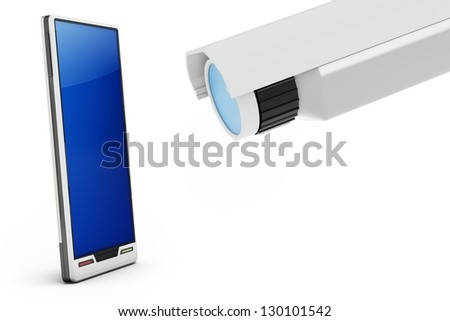 3d smartphone with security video camera on white background - stock photo