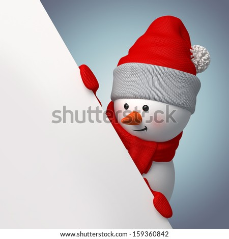 3d smiling snowman, holding blank page corner - stock photo