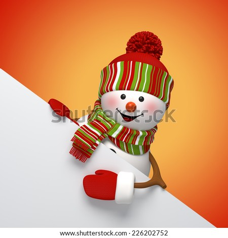 3d snowman banner, winter holiday symbol, New Year card template - stock photo