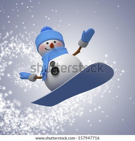 3d snowman on snowboard, winter outdoor activity - stock photo