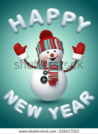 3d snowman wishing a Happy New Year, snow text, winter holiday illustration - stock photo