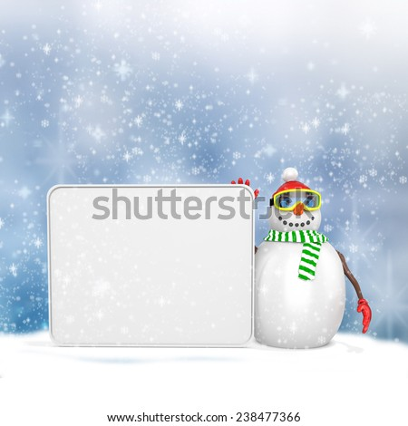 3d snowman with big blank banner  on winter snowflakes background  - stock photo