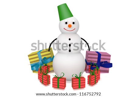 3d snowman with bucket and presents isolated on white