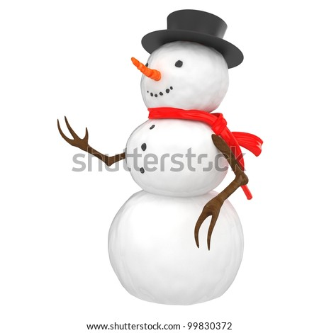 3d snowman with hat and scarf on white background - stock photo