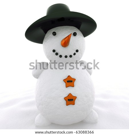 3d snowman with hat  isolated on white - stock photo