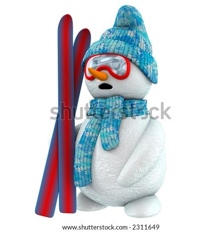 3d snowman with ski - stock photo
