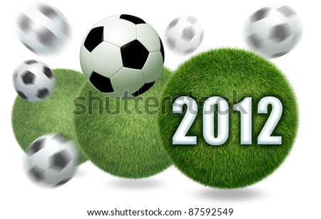 3D Soccer and football 2012 model 3D Isolated, on white background - stock photo