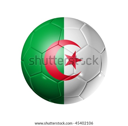 3D soccer ball with Algeria team flag, world football cup 2014. isolated on white with clipping path - stock photo