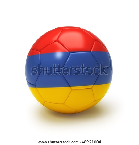 3D soccer ball with Armenian flag, world football cup 2010. Isolated on white - stock photo