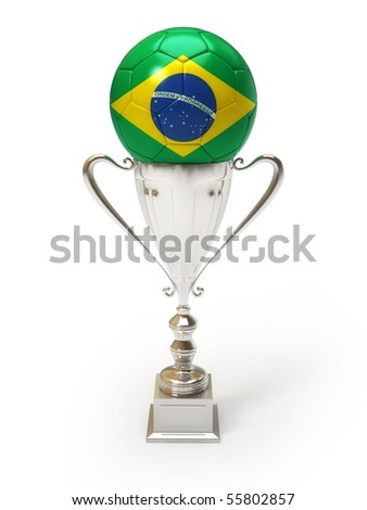 3D soccer ball with Brazilian team flag on trophy cup