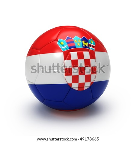 3D soccer ball with Croatian flag, world football cup 2010. Isolated on white - stock photo