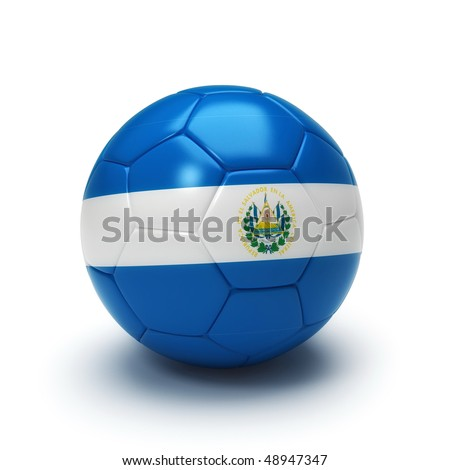 3D soccer ball with El Salvador flag, world football cup 2010. Isolated on white - stock photo