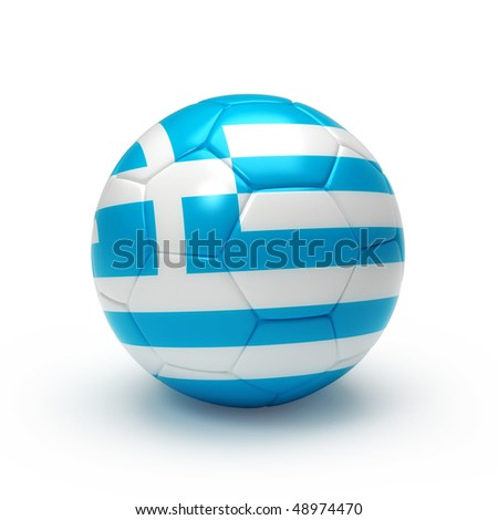 3D soccer ball with Greece team flag, world football cup 2010. Isolated on white - stock photo