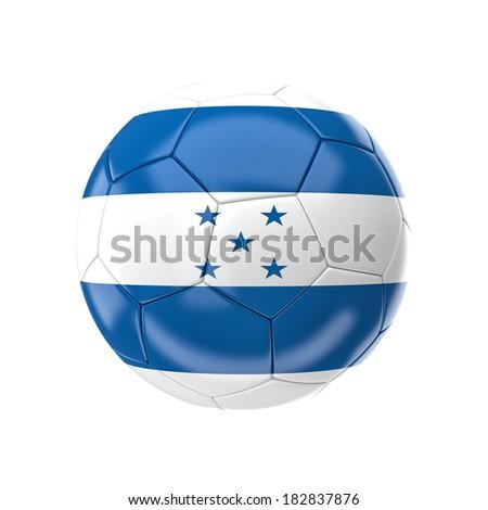 3d soccer ball with honduras flag - stock photo