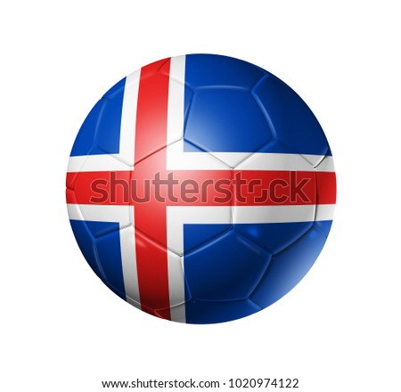 3D soccer ball with Iceland team flag. isolated on white.