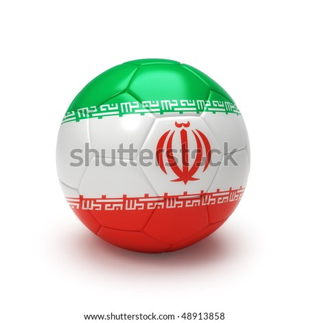3D soccer ball with Iran flag, world football cup 2010. Isolated on white - stock photo