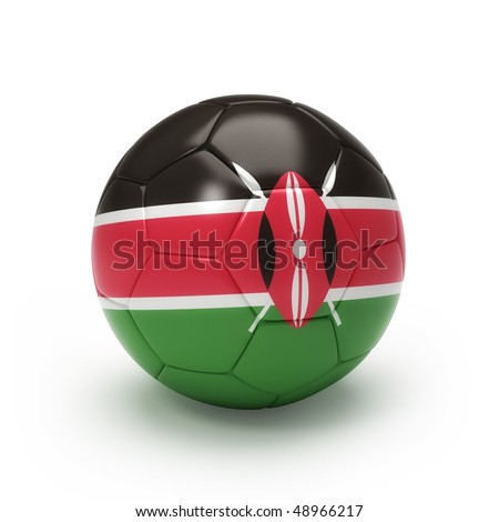 3D soccer ball with Kenya team flag, world football cup 2010. Isolated on white - stock photo
