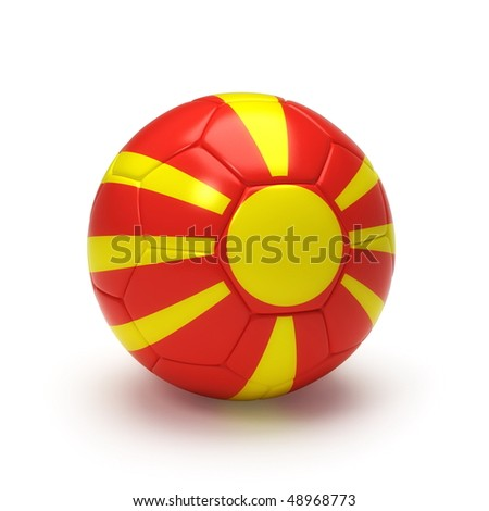 3D soccer ball with Macedonian flag, world football cup 2010. Isolated on white - stock photo