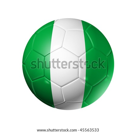 3D soccer ball with Nigeria team flag, world football cup 2014. isolated on white with clipping path - stock photo