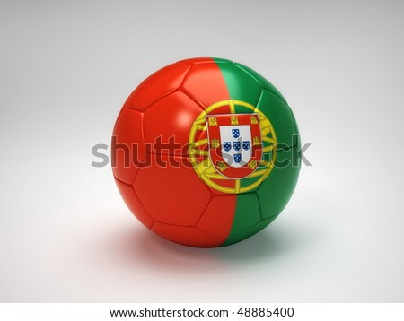 3D soccer ball with Portugal team flag, world football cup 2010. Isolated on white