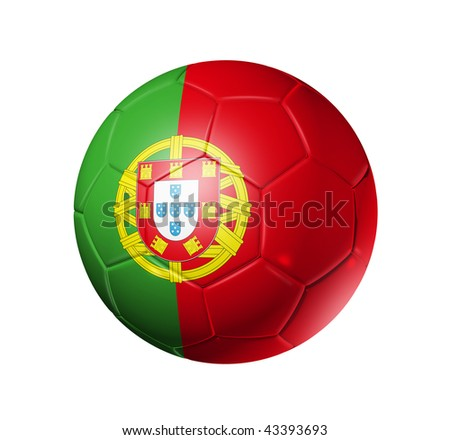 3D soccer ball with Portugal team flag, world football cup 2014. isolated on white with clipping path - stock photo