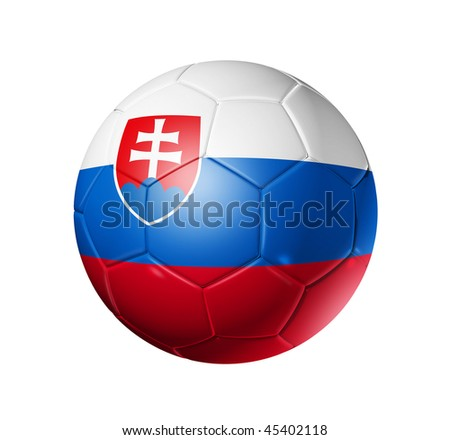3D soccer ball with Slovakia team flag, world football cup 2010. isolated on white with clipping path - stock photo