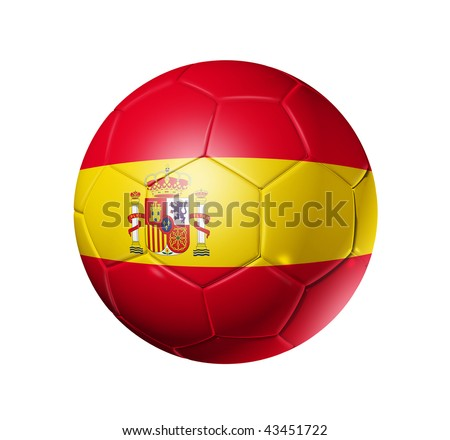 3D soccer ball with Spain team flag, world football cup 2014. isolated on white with clipping path - stock photo