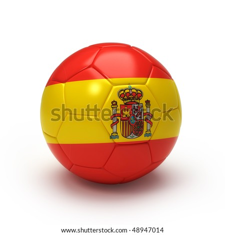 3D soccer ball with Spain team flag, world football cup 2010.lated on Iso white - stock photo