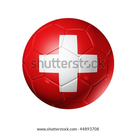 3D soccer ball with Switzerland team flag, world football cup 2014. isolated on white with clipping path