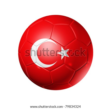 3D soccer ball with Turkey team flag. isolated on white with clipping path
