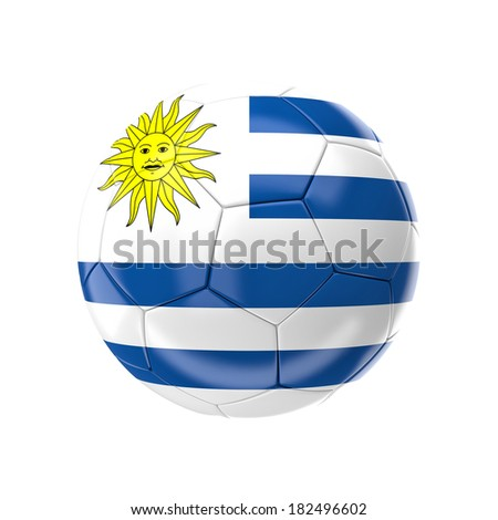 3d soccer ball with uruguay flag - stock photo
