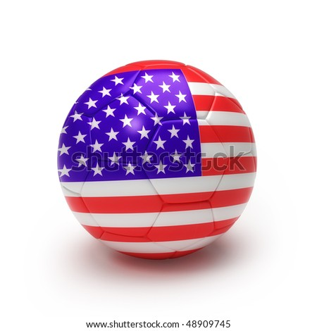 3D soccer ball with USA team flag, world football cup 2010. Isolated on white with - stock photo