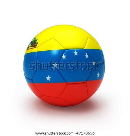 3D soccer ball with Venezuelan flag, world football cup 2010. Isolated on white - stock photo