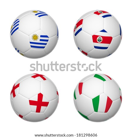 3D soccer balls of group D teams flags, Brazil 2014. isolated on white.