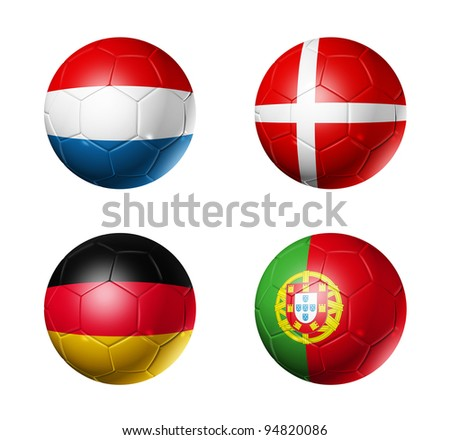 3D soccer balls with group B teams flags. UEFA euro football cup 2012. isolated on white - stock photo