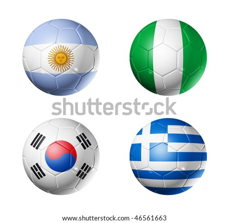 3D soccer balls with group B teams flags, world football cup 2010. isolated on white - stock photo