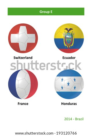 3D soccer balls with group E country flags Football Brazil 2014 - stock photo