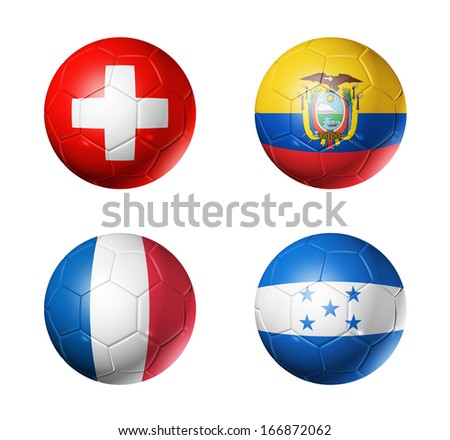 3D soccer balls with group E teams flags, Football Brazil 2014. isolated on white - stock photo