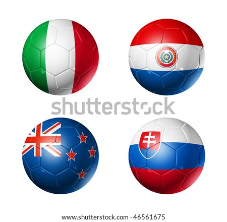 3D soccer balls with group F teams flags, world football cup 2010. isolated on white - stock photo