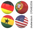 3D soccer balls with group G teams flags, Football Brazil 2014. isolated on white - stock photo