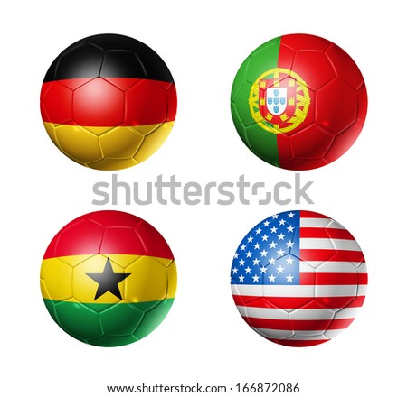 3D soccer balls with group G teams flags, Football Brazil 2014. isolated on white