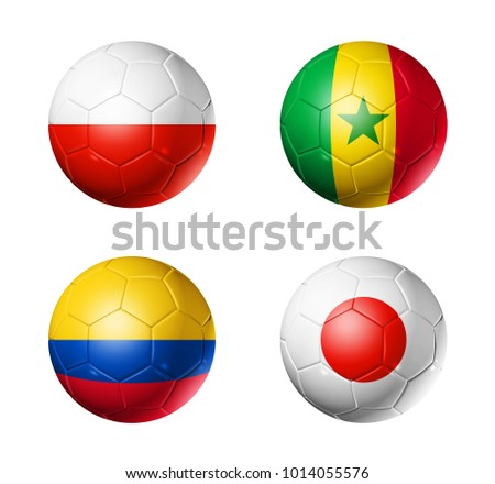 3D soccer balls with group H flags,  isolated on white