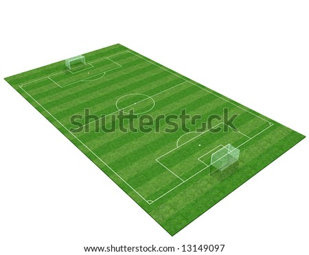 3d soccer-field isolated on white background -digital artwork - stock photo