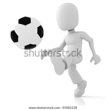 3d soccer player - stock photo