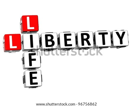3D Social Liberty Life Crossword cube words on white background