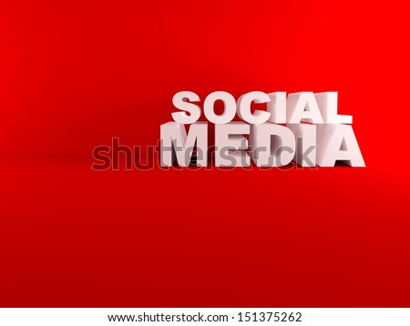 3d social media text in empty red room - stock photo