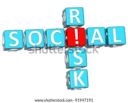3D Social Risk Crossword on white background - stock photo