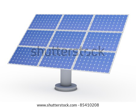 3d solar blue energy photovoltaic panel power - stock photo