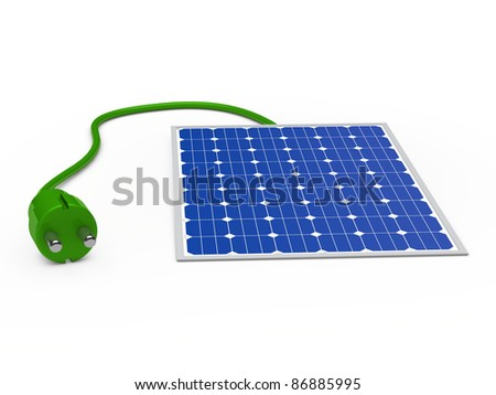 3d solar power panel with green plug - stock photo