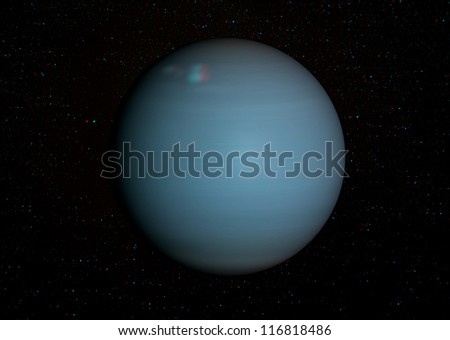 3D solar system series: Uranus with stars in the background. View anaglyph with red/cyan glasses. Elements of this image furnished by NASA. - stock photo